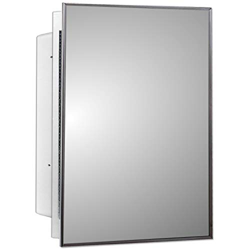 Mirrors and More Recessed Frameless Beveled Polished Edge Mirror Medicine Cabinet | Fixed Shelf | Bathroom | Kitchen | 16' x 22'