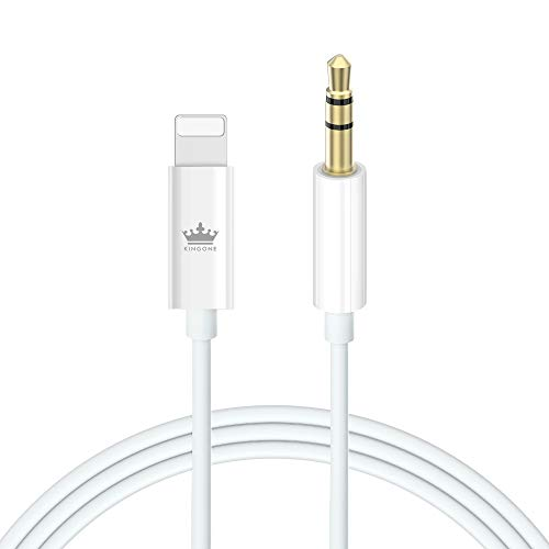 KINGONE Auto Aux Kabel für iPhone X 3,5 mm Aux Kabel für iPhone XS/XR 11/11 pro/ 8/8 Plus/ 7/7 Plus/iPod/iPad/Autoradio/Lautsprecher (Weiß)