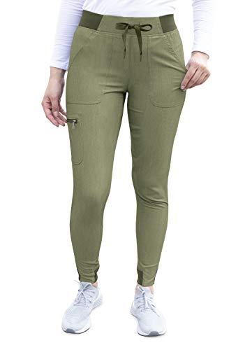 Adar Pantalón Pro Heather de uniforme médico con pretina elástica para mujer. El mejor pantalón para uniforme médico, para trotar y para practicar Yoga.
