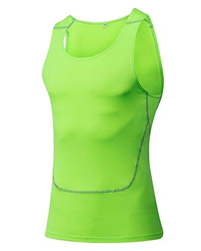 ZongSen Gilet Minceur Homme Veste Sport Fitness sans Manches Débardeur Sudation Compression Tops Vert Fluorescent L