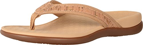Vionic Women's Tide II Toe Post Sandal - Ladies Flip Flop with Concealed Orthotic Arch Support Gold Cork 8 B(M) US