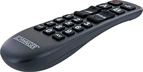 SCHWAIGER UFB1100 533-2in1 Universalfernbedienung 20 Tasten Seniorenfernbedienung TV Ersatzfernbedienung anlernbar TV-Fernbedienung für alle Samsung LG Sony Philips Panasonic TV's