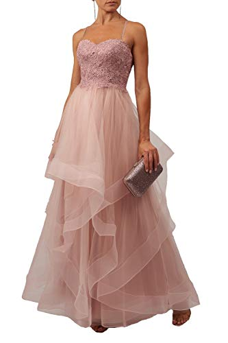 Mascara Haze Pink Mc120931 Getrapte kant tule Prom jurk