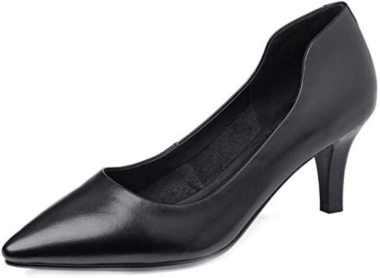 MENGLTX High Heels Sandalen 2019 Hochwertiges Echtes Leder Frauen Pumpt Spitze Feste Farben High Heels Schuhe Klassische Büro Damenschuhe