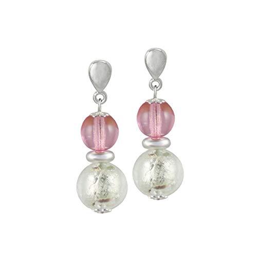 Eternal Collection Veneto Rosa Murano Glass Silver Tone Drop Pierced Earrings 3.3 Pink