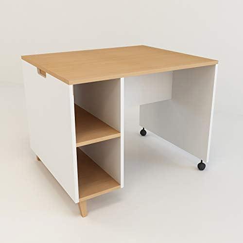 XXL Farbeland Kinderzimmer Schreibtische aus Buche und MDF mit ZWeißegale, Kindertisch für mädchen und Junge in skandinavischem Stil, Moderne Tisch für Kinderzimmer (Weiß