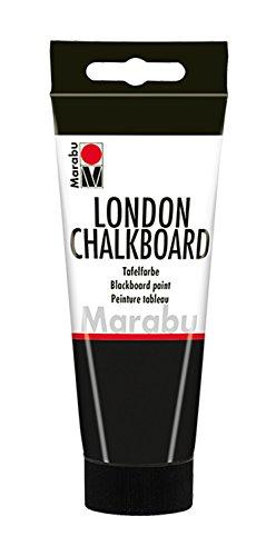 Marabu 12680050875 - Tafelfarbe, London Chalkboard Tafel schwarz 100 ml, Wasserbasis, speichelecht, sehr gut deckend, schnell trocknend, nach Trocknen m. Kreide beschreibbar und mit Wasser abwischbar