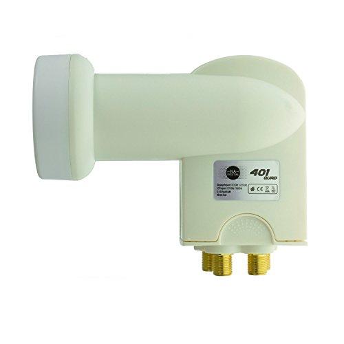 NA-Digital Hochwertiges Quad LNB Wetterschutz inklusive für alle Satellitenanlagen Quattro Switch LNB Digital Full-HD UHD Empfang I 4 Teilnehmer I LNB