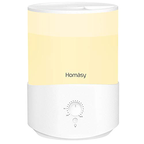 Homasy Cute Humidifiers for Bedroom (2.5L), 28dB Baby Humidifier with Warm Night Light, Top-Fill Cool Mist Humidifier for Kids, Humidifier Essential Oil Diffuser, 30hrs Working Time, Dial Knob, White