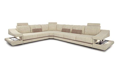 Bullhoff by Giovanni Capellini Design Ecksofa L-Form Sofa Couch Ecru Creme/sandbeige Wohnlandschaft Luxus Stoffsofa mit LED-Licht Beleuchtung Stuttgart