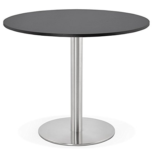 Alterego Petite Table de Bureau/à Diner Ronde 'Dallas' Noire - Ø 90 cm