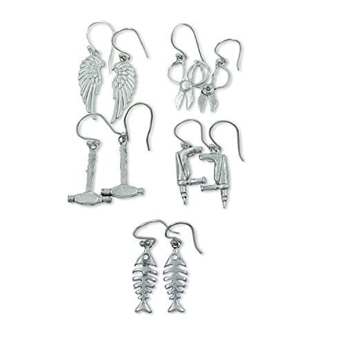 Sizzling Silver 5 pares de pendientes de aro variados para mujeres niñas,...