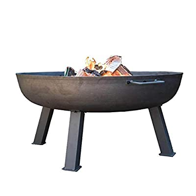 Gardenesque Hoole Collection, Cast Iron Fire Pit with Stand (Medium (W75 x H37cm)) from Woodlodge Products