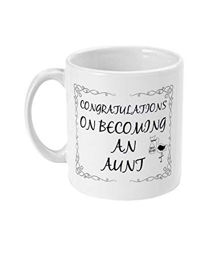 """Lplpol Weiße Tasse mit Aufschrift """"Become an Aunt To Be"""", Geschenk für Tante und Tante (in englischer Sprache), 325 ml"""