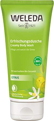 WELEDA Citrus Erfrischungsdusche, Naturkosmetik belebendes Bio Duschgel mit Zitronen Und Orangen Duft, Pflegende Reinigung für Haut, Körper und Gesicht (1 x 200 ml)
