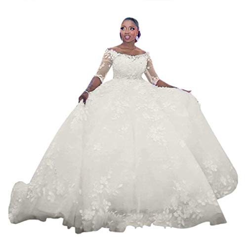 Princess 3/4 Sleeve Lace Wedding Dresses Off The Shoulder Bridal Ball Gown Plus Size Bride Dress Ivory 6