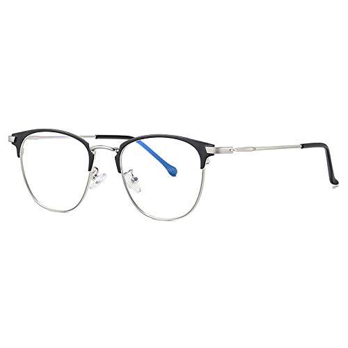 HAOMAO Gafas de Bloqueo de luz Azul para Hombres, Mujeres, Montura metálica, protección UV C3Silver