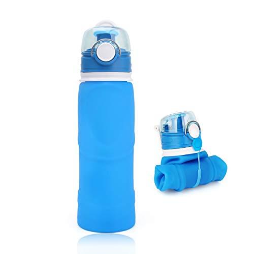 Botella de agua plegable de silicona a prueba de fugas, sin BPA, botella de silicona para deportes, viajes, ciclismo, camping, senderismo, gran capacidad de 750 ml (azul)