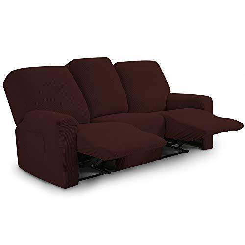 TIANSHU Funda reclinable para sofá de Dos plazas, 8 Piezas para 3 Asientos, Funda reclinable de Jacquard para sofá de 3 Cojines, Funda elástica para sofá(Sillón Relax 3 Plaza, Chocolates)