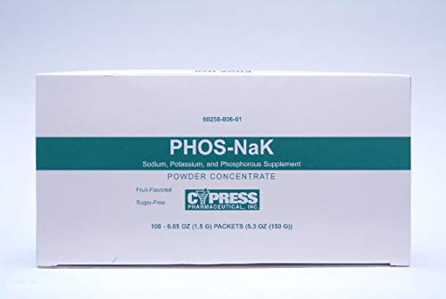 Phos-NaK Dietary Supplement Sodium/Potassium/Phosphorus 160 mg - 280 mg - 250 mg Strength Oral Powder 100 per Pack Assorted Fruit Flavors, 60258000601 - Pack of 100