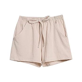 Dreamyth Womens Shorts Casual Pocket Elastic Waist Drawstring Cotton Linen Shorts Loose Comfy Workout Shorts