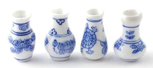 Melody Jane Puppenhäuser 4 Delft Vasen Dekorative Miniatur Ornament Zubehör