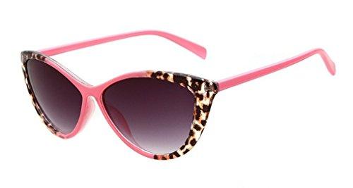 Gafa de sol completa para mujer estilo ojo de gato 52 mm, estampado detallado de leopardo multicolor rosa