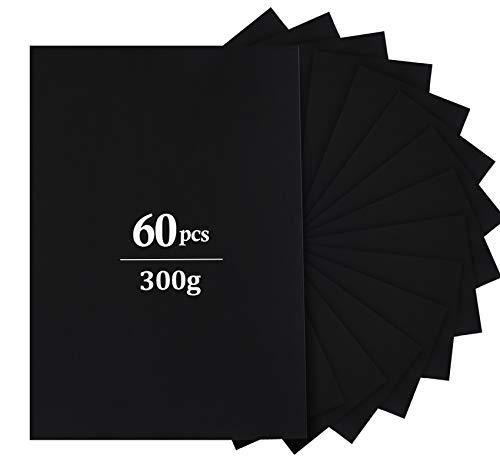 Adorfine 60 Blatt schwarzes DIN-A4 Foto-Karton 300 g/m² Farbige Papier Karton Ton-Zeichen-Pappe zum Basteln
