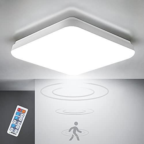 Oeego 18W LED Plafoniere da sensore di Movimento, 1400LM LED lampada da soffitto con sensore di movimento a microonde, lampada da bagno, luce sensore impermeabile IP54, 4000K