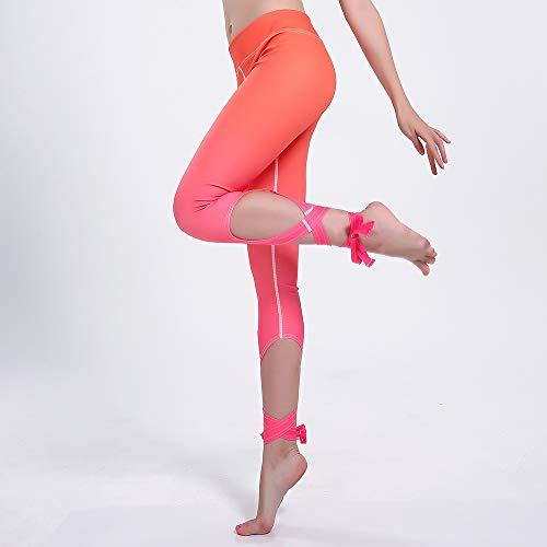 MAOYYMYJK oranje rood gradient onregelmatige kant dames slank sport bandage yoga dansbroek yoga broek voor dames