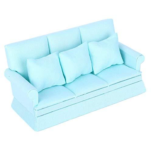 ZSM Miniaturpuppenhaus Sofa, 1:12 Puppenhaus Mini Sofa Puppen Haus Möbel Couch Miniaturcouch mit 3 stücke Kissen Wohnzimmer Möbel (grün) YMIK (Color : Blue)