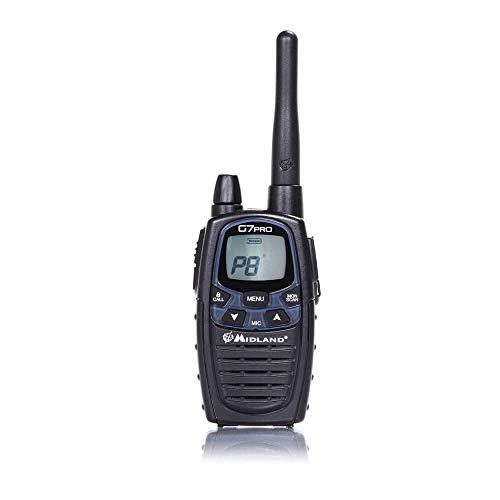 Midland G7 Pro Radio Ricetrasmittente Walkie Talkie Dual Band 8 Canali PMR446 e 69 Canali LPD - 1 Ricetrasmettitore, 4 Batterie Ricaricabili Ni-MH AA 1,2V/1800 mAh, Caricabatterie e Clip Cintura