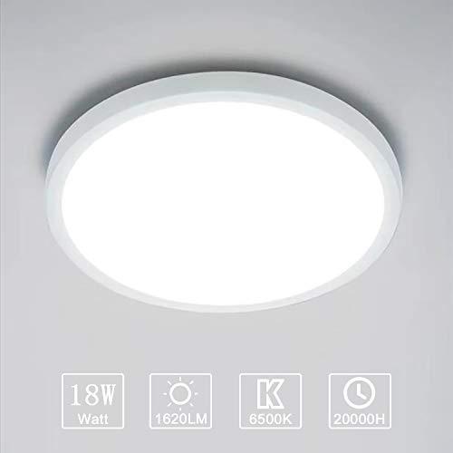 Yafido Plafonnier LED 18W UFO Panel Rond Lampes de Plafond Moderne Ultra-mince LED Lampe 1620LM Blanc Froid 6500K Facile à installer Applicable à Salle de Cuisine Salon Balcon Ø18*2.5cm