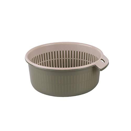 THJ Juego de colador plegable para frutas y verduras, cesta de lavado para drenar pasta, verduras, frutas (verde militar, 18 x 8 cm)