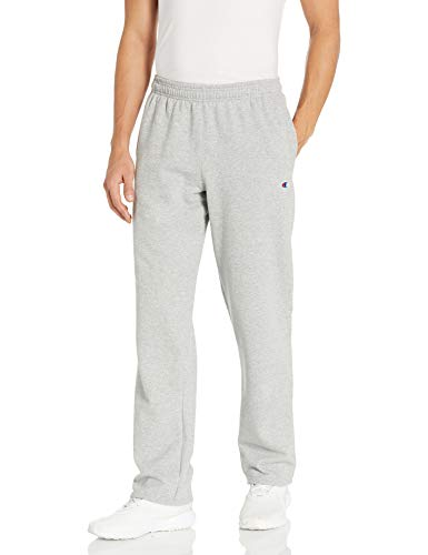 Champion Men's Powerblend Open Bottom Fleece Pant, Oxford Gray, XL