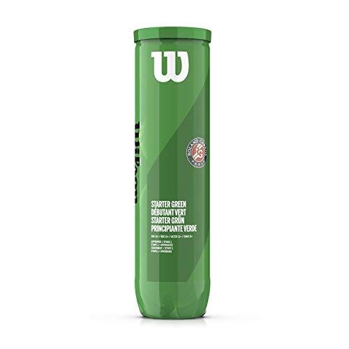 Wilson Roland Garros Pelotas de Tenis adaptado, Tennis 10s, Fase 1, Principiante verde, Tubo de 4 pelotas, Niños