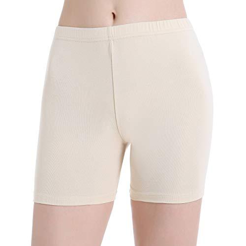 Shorts pour Femmes Legging Sport Pantalon de Course Légers Lisse Anti-Frottement,B:beige,XL