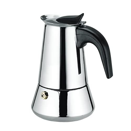Cafetera italiana acero inoxidable. Cafetera induccion 6 tazas. De acero inoxidable para vitroceramica, induccion y gas. Uso domestico oficina o aire libre