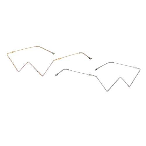 Sharplace 2PCS Mujeres Gafas de Ojo Brillantes Montura Pequeña Sin Lentes Fiesta Selfie Gafas