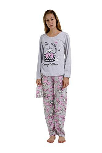 Pijama Mujer de 2 Piezas-Pijama de Algodón 100%-Pijama de Primavera Verano, Modelo Lucky Meon