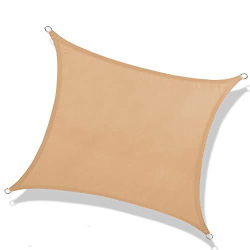 NAKAMORY Sun Shade Sail Waterproof Rectangle Size 95% UV Block for Outdoor Garden Patio Backyard (10'×13', Sand Color)