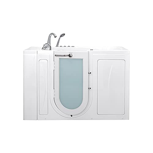 Product Image of the Ella OA3052HH5PLh Capri Hydro Independent Foot Massage Acrylic Walk-in Bathtub, Outward Swing Door, Faucet, Heated Seat, Left 2' Drain, 30'x 52', White
