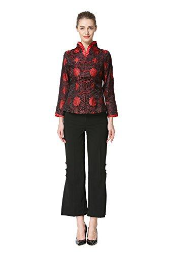 Bitablue Damen Brokat-Jacke, rote Blumen -  Schwarz -  Mittel