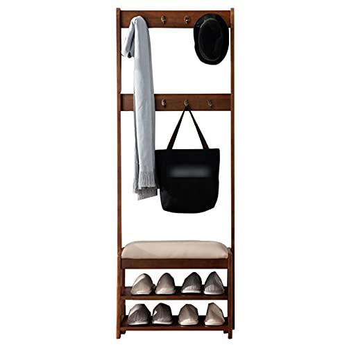 LM-Coat rack XINGLL Percheros Pie Perchero, Perchero Independiente con Banco, Paraguas De Ropa Sombrero Estante De Almacenamiento De Zapatos, Organizador De Entrada para El Dormitorio del Pasillo