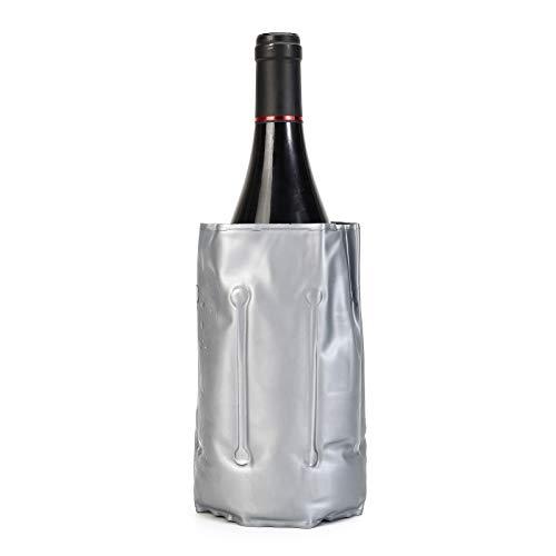 Weinkühler Grau, Aktiv Weinkühler Manschette mit Klettverschluss, 12,99 Zoll × 7,08 Zoll Flaschenkühler für Champagner, Sekt, Bier usw