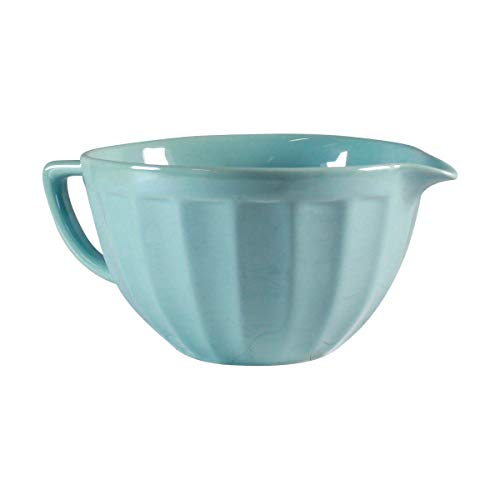 Classic Batter Bowl by CIROA | Pearl Blue Porcelain Bowl with Handle 2.5 Quart