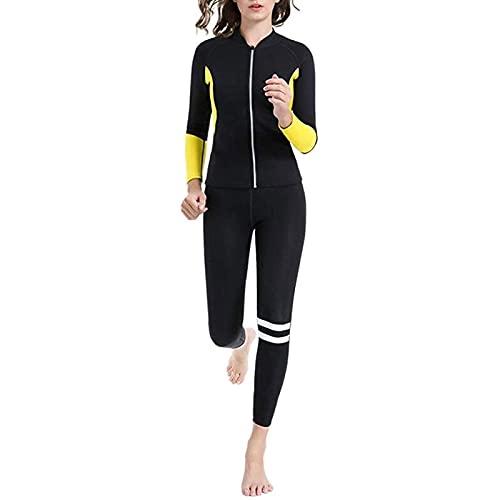 Traje de Sauna de Neopreno para Mujer, Pantalones de Chaqueta de Pérdida de Peso, Ropa de Chándal, Chándales de Gimnasia (Color : Black, Size : M)