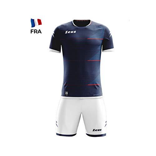 Zeus Kit Mundial Completino Calcio Colori Nomi Squadre Mondiali (L/XL, Blu-Bianco (Francia))