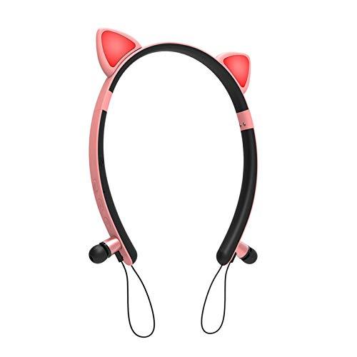 Auricolari Bluetooth per ragazze, senza fili, con orecchie da gatto, con microfono, auricolari senza fili, con luce a LED, impermeabili, regalo per ragazze e bambini