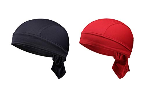 TSHOME 2-Pack Breathable Cycling Cap Fast Dry MTB Headwear Pirate Bicycle Bandana Bike Scarf Motorrad Skull Cap Under Helm Headband für Männer Frauen (Dunkelblau & WineRed)